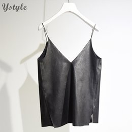 Wholesale Camisole For Girls - Wholesale-Women's Brief V Neck Camisole 2016 Summer Casual Ladies Faux Leather Bottoming Shirt Sides Splits Black Vest For Girls SH158