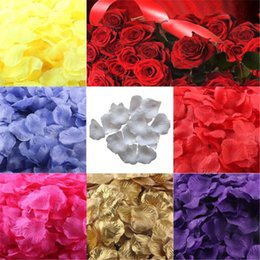 Wholesale Bridal Decor Petals - Wholesale-lovely pet 200pcs Silk Rose Petals Artificial Flower Wedding Favor Bridal Shower Aisle Vase Decor Confetti sep930