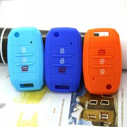 Wholesale Kia K3 Accessories - Kia K3 Sportage R Sorento 3 botton Key Case Cover Remote Silicone key Shell Accessories Car Styling