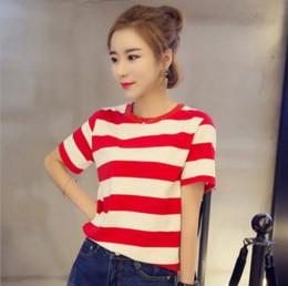 Wholesale Blusas Fashion - Wholesale- Korea Super Casual Women Top Stripped Cotton Loose T Shirt Short Sleeve Tshirt Fashion Red White Student Stripe Blusas Femininas