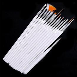 Wholesale 15 Pcs Acrylic - 15 Pcs Set Nail Art Design acrylic brush UV Gel Set Painting Draw Dotting Pen white Hand Free Shipping
