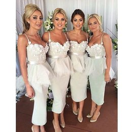 Wholesale Plus Size Tea Wedding Dresses - Sexy Tea Length Bridesmaid Dresses Spaghetti Straps Lace Plus Size Custom Made 2017 Formal Wedding Party Guest Maid Of Honor Gowns Cheap