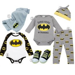 Wholesale Zebra Pants Man - Baby Boys Rompers 2017 New Cartoon Bat Man Design Romper Pant Cap 6 pieces with Gift Box ER-887