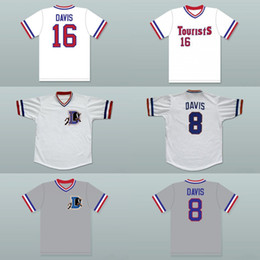 Wholesale Bulls Baseball - Men's #8 Crash Davis #16 Bull Durham Deluxe Edition Baseball Jersey white or customize any number any name embroidery jerseys Free Shipping