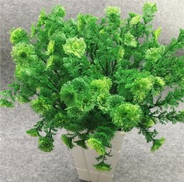 Wholesale Coral Branches - 10pcs Artificial Coral grass Fern Branch Greenery For Wall Background Wedding Party Home Office Bar Decorative