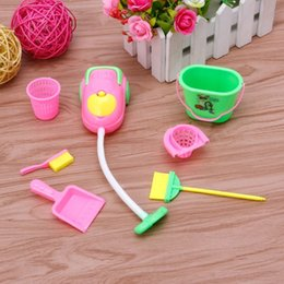 Wholesale Furniture For Dolls - 6Pcs Home Furniture Furnishing Cleaner Cleaning Kit For Barbie Doll House Gift Hot