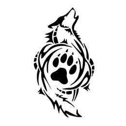 Impressão gráfica em vinil on-line-Lobo tribal pata impressão estilo do carro decalque de vinil personalidade adesivo engraçado janela do carro acessórios gráficos decorar
