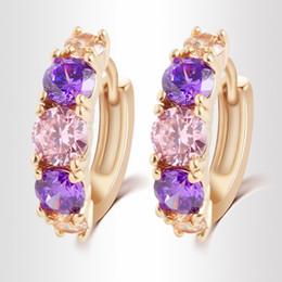 Wholesale Hoop Crystal Earings - Gold Plated Pendientes Earrings For Women Earings CZ ohrringe Crystal Hoop Earrings Brand Wedding Earrings brincos