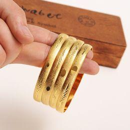 Wholesale Africa Box - (4 four Pieces) box Wholesale Fashion Wedding Bangle Jewelry 18k Yellow Solid Gold GF Filled Dubai Bracelet Women Africa Arab Items