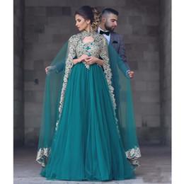 Gold Applique Lace Vestidos de baile 2017 Dubai Kaftan Dress Plus Size Vestido de noche árabe con largo cabo Tulle Vestidos formales Ropa de noche desde fabricantes
