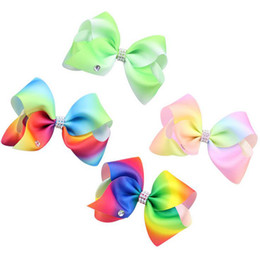 Wholesale extra large ornaments - Rainbow color gradient ribbons with children bowknot with row drill hot extra large diamond children hair ornaments