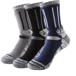 Wholesale Wholesale Soccer Sweats - Professional Basketball Socks Sports Skiing Running Thick Towel Bottom Cotton Long Elite Sweat-absorbent Socks Meias Masculino