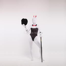 Wholesale Sexy Zentai Girl - Brand New Black and White Lycra Zentai Bodysuit Spandex Bunny Girl Cosplay Costume For Halloween