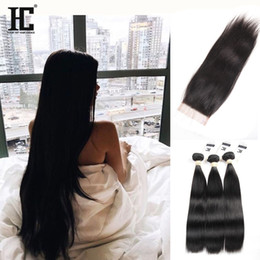Wholesale Silk Lace Closures Peruvian - HC Hair 4X4 Peruvian Lace Closure With 3 Bundles Silk Straight Human Hair With Closure Peruvian Virgin Hair With Lace Closure