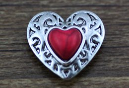 Wholesale Bracelet Red Ring - Wholesale-JACK88 NEW 10pcs lot Metal Snaps Rhinestone Red Heart Ginger Snap Jewelry 18mm Snap Fit Charm Bracelet Button Jewelry N928