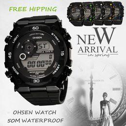 Wholesale Children Plastic Watch Bands - Children LCD Battery Date Day Watch Mens Sport Stopwatch Climbing Backlight Black Rubber Band Wrist Watch Watches