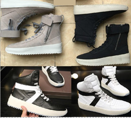 Wholesale Military Boxes - Fog boots 2017 season 5 fear of god Boots With Box military boots platform Men women fashion leather shoes size 36-45