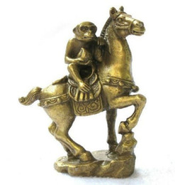 Wholesale Collectibles Antiques - Small Collectibles Brass Monkey&Horse Statues free shipping
