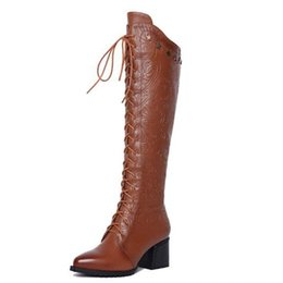 Wholesale European Fashion Lace Up Boots - High quality women chunky heel cowhide tall boots lady luxury genuine leather side zipper knee boots european style knight big size