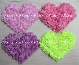 "Wholesale Shabby Chiffon Rosette - Free USA ePacket CPAP 5""x4"" 30pcs lot 17colors Chiffon Rosette Shabby Heart,Shabby Chic Chiffon Heart Appliques,Hair Accessories"