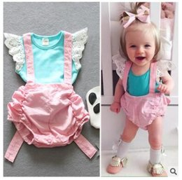 Wholesale Sling Pants - Ins PP Pants Suit Baby Vest Children's Clothing Infant Baby Girl Cute Lace Vest Bow Sling Two-Piece Free Shipping