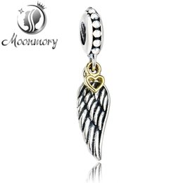 Wholesale Pandora S925 - 100% real s925 silver pendant fit pandora bracelet Love & Guidance Angel Silver Hanging Charm with wing and heart