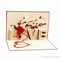 Wholesale Greeting Cards Pop - Greeting Card 3D Pop Up Cards Love Tree Heart Valentine Lover Happy Birthday Greeting Card DHL free ship
