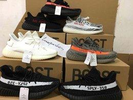 Wholesale Infant Zebra Shoes - 2017 SPLY-350 Boost V2 Kanye West Men Women SPLY 350 V2 Running Shoes Triple White Zebra Black Red Infant 350 v2 boost Running Shoes