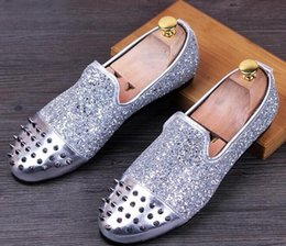 Wholesale Rivet Parts - New Men Brand Designer Shoes trendsetter Glittering Studded Rivet Spike Loafer shoe For Men Shoes Part dress wedding shoes 25