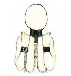 Wholesale Collar Chains Sex - Top Leather Collars Handcuffs Bondage Neck Wrist Locking BDSM Slave Neck Ring with Long Chains for Man or Women Sex Toys