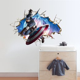 Wholesale Kids Room Wallpaper Free Shipping - Free shipping Avengers 3D boy Wall Stickers Decals Art for kids living room Nursery Captain America WallPaper Cartoon Poster