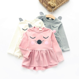 Wholesale Cat Printed Dress Long - Autumn Girl Clothing 2017 Kids Baby Girls Long Sleeve cotton Dress One-piece Cat Cotton Dresses Toddlers Clothes MWG010