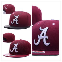 Wholesale Free Ncaa - Free Shipping Men's Alabama Crimson Tide NCAA Snapback Hats In Black Color Reflective Design USA College Letter A Logo Adjustable Caps