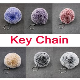 fur ball purse charms Coupons - Chic Faux Rabbit Fur Pom Pom Keychain Bag Purse Charm Silver Ring Fluffy Fur Ball As Women Accessorice FBA Drop Shipping B554Q