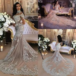 Wholesale Sexy Mermaid Halter Wedding - .Luxury Sparkly 2017 Mermaid Wedding Dress Sexy Sheer Bling Beads Lace Applique High Neck Illusion Long Sleeve Champagne Trumpet Bridal Gown