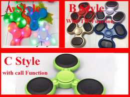 Wholesale Music Cube Toy - New Led Bluetooth Speaker Music Fidget Spinner with SD TF Card Calls Function Hand Spinner Tri Spinner cube FingerSpinner EDC Toy DHL Free