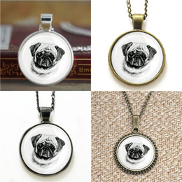 Wholesale Dog Cuffs - 10pcs Pug Face Dog lds Mormons ctr Cuff Gift for Him Glass Photo Necklace keyring bookmark cufflink earring bracelet