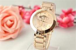 Wholesale Geneva Watch Brands - 2017 Geneva Watches Stainless steel Splendid Luxury Fashion Casual lady Peach bear Quartz Analog Watches Brand Clock Male Casual Cool Watch