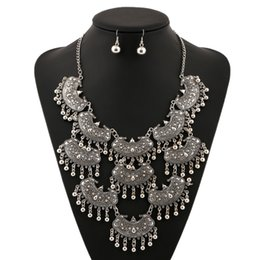 Wholesale Collections Necklace Earrings - Vintage Multilayer Accessories Collection Statement Necklaces Chunky Choker Trendy Gypsy Pendants Women Ear Hook Jewelry Set