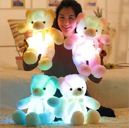 Wholesale White Dog Stuffed Animal Wholesale - 30 50 80 cm reative Light Up LED Inductive Teddy Bear Stuffed Animals Plush Toy Colorful Glowing Teddy Bear Christmas Gift for Kids