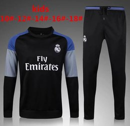 Wholesale Children S Sports Suits - 2016 2017 Kids Long Sleeve Chelsea city Real Madrid Tracksuit Jogging Boys Soccer kit Football Suits Youth Sport Wear Children Ronaldo train
