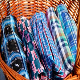 Wholesale Mens Plaid Boxer - Wholesale-1 Pcs Lot Sexy Mens Shorts Boxers Male 100% Cotton Loose cuecas masculinas boxer shorts Men's Home Plaid breeches Tunks Free