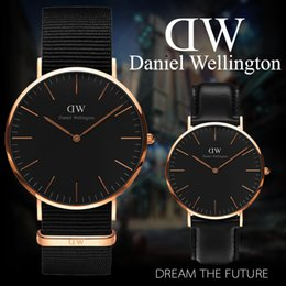 Wholesale Women Brown Watch - New Black face Daniel Wellington Watch 40mm men watches 36mm Women Watches Luxury Brand Quartz Watch DW Relogio Feminino Montre Femme
