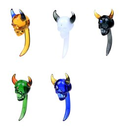 Wholesale Demon Glass - Smoking Dogo 2017 New Arrival Design Curved Skull Glass Dabber With 5 Colors 7.6cm Length Demon Glass Dabbers