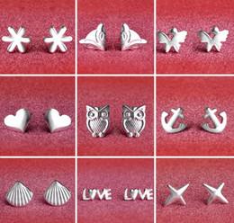 2019 argento misto miscelato 2017 new Fashion 30% argento placcatura platino Orecchini Lovely FLOWER Farfalla cuore gufo Anchor shell stelle Orecchini Mix 10 stili sconti argento misto miscelato
