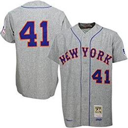 Wholesale Mens Cotton Shorts Cheap - 2016 New Cheap Mens New York Mets Jersey #41 Tom Seaver Gray Road 1969 Throwback Vintage Baseball Jerseys Shirts NY Mets