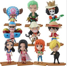 Wholesale nami anime - 10pcs lot ONE PIECE Action Figures Anime Luffy Zoro Nami Robin Chopper Sanji PVC Brinquedos Collection Figures Toys