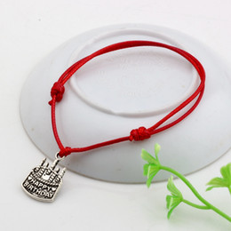 Wholesale Happy Birthday Bracelet - MIC 50pcs Adjustable Bracelets Red Waxes rope Antique silver happy birthday Charm Adjustable Bracelet B-51