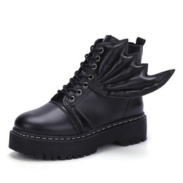 Wholesale Hand Shaped Charms Black - Woman Genuine Leather Ankle Boots Silvery Red Lace-Up Plush Boots 2018 Autumn Winter Fashion Flat With Oxford Shoes