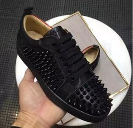 Wholesale Spike S - Luxury Paris Design Men Sneakers Loubs Red Bottom Shoes Men's Flat Spikes White Gold Leather Junior Sneakers Shoes High Low Cut Wholesale S